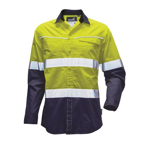 Mack Workwear Xenon Mens Hi-Vis Button-Up Shirt with Reflective Tape